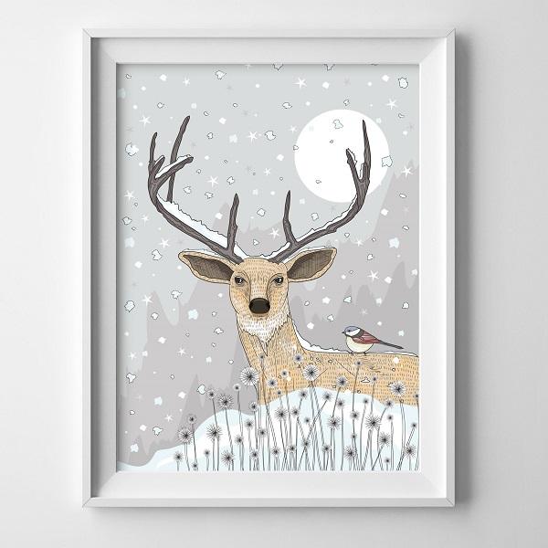 תמונה לחדר ילדים אייל עם פתיתי שלג