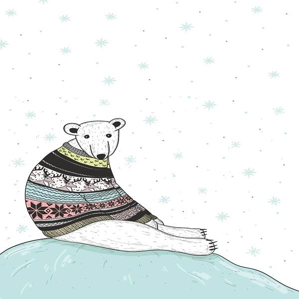 תמונה לחדר ילדים דוב בשלג