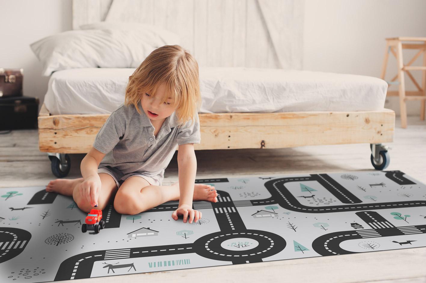 שטיח ויניל לחדר ילדים דגם מכוניות