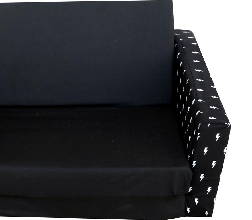 ספה לילדים שחורה ברקים לבנים - תמונה 2