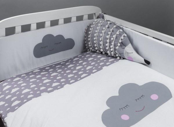 מגן ראש לעריסה מגן ראש למיטת תינוק דגם עננים אפור - תמונה 2