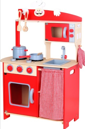 מטבח לילדים מעץ אדום  - צעצועי עץ