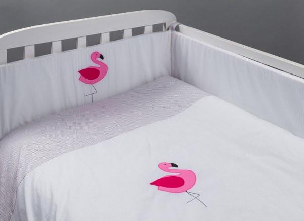 מגן ראש לעריסה מגן ראש למיטת תינוק דגם פלמינגו