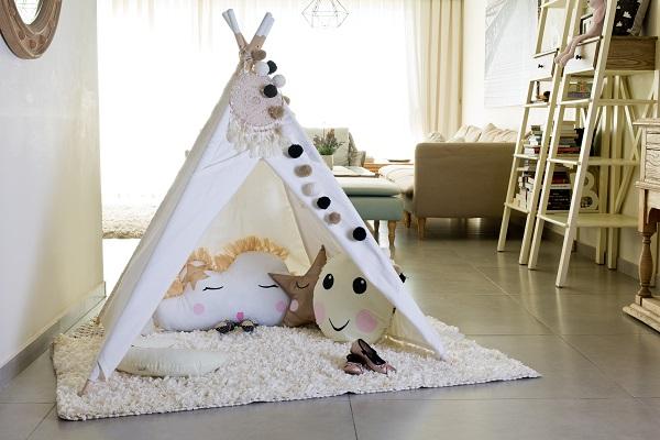 אוהל טיפי לילדים דגם תכלת מיפי שחור לבן