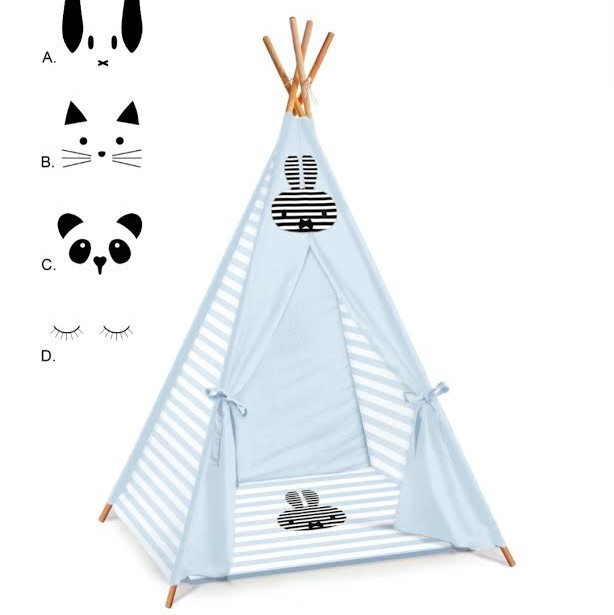 אוהל טיפי לילדחם דגם תכלת מיפי שחור לבן