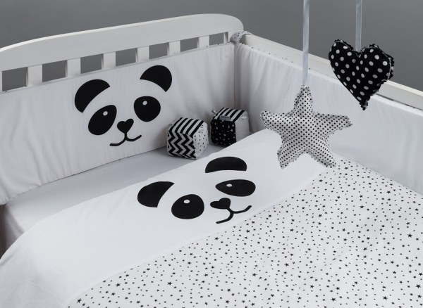 מגן ראש לעריסה מגן ראש למיטת תינוק דגם פנדה