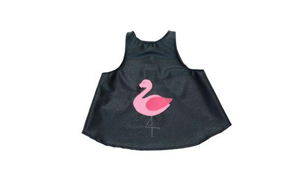 סינר לתינוק שחור ויניל פלמינגו