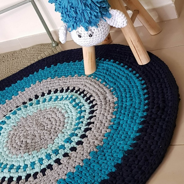 שטיח ריקמה גווני כחול - שטיחים