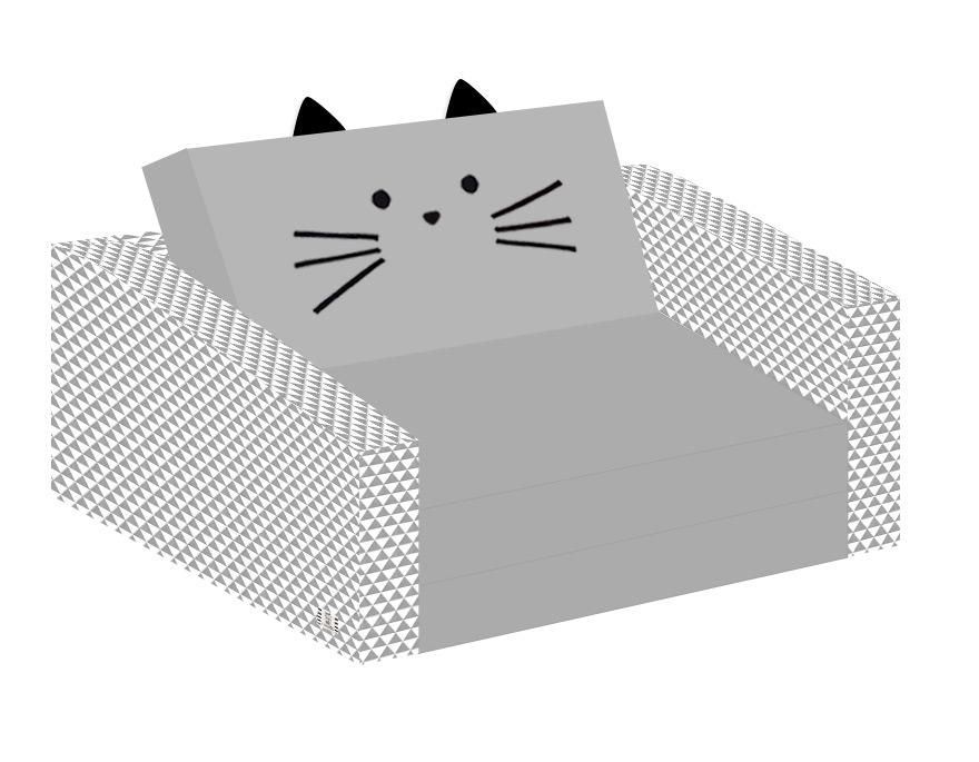 ספה לילדים חתול אפור משולשים