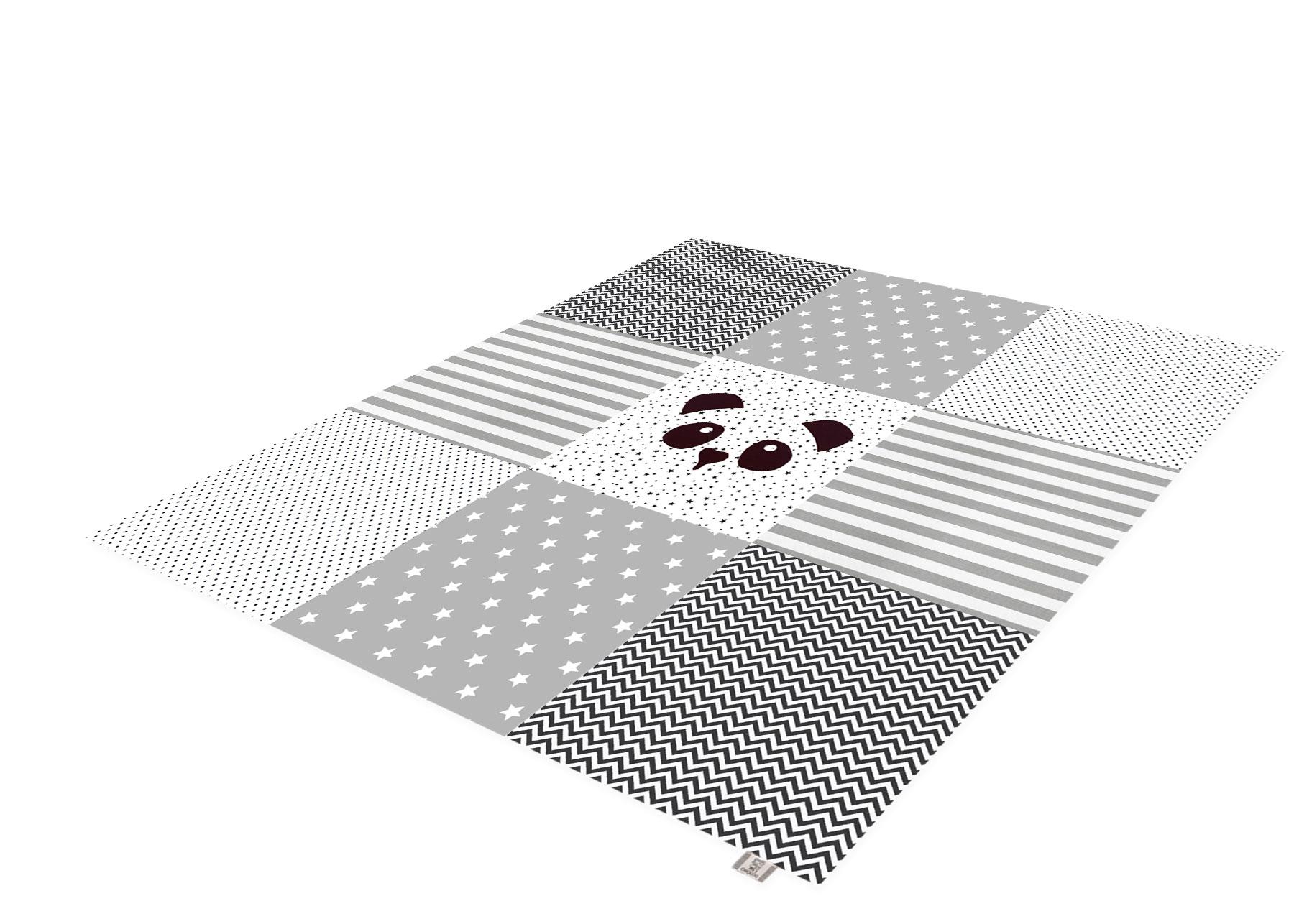 משטח פעילות לתינוק- דגם פנדה לבן שחור  - גדול