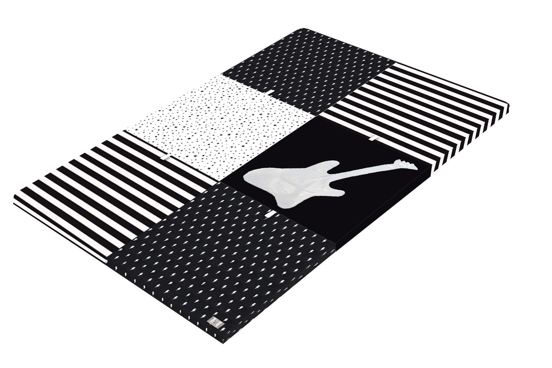 משטח פעילות לתינוק- דגם גיטרה שחור לבן  - קטן