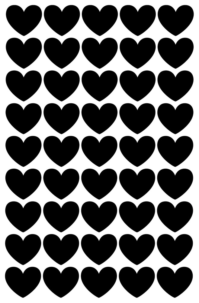 מדבקות לקיר לחדרי ילדים לבבות שחור