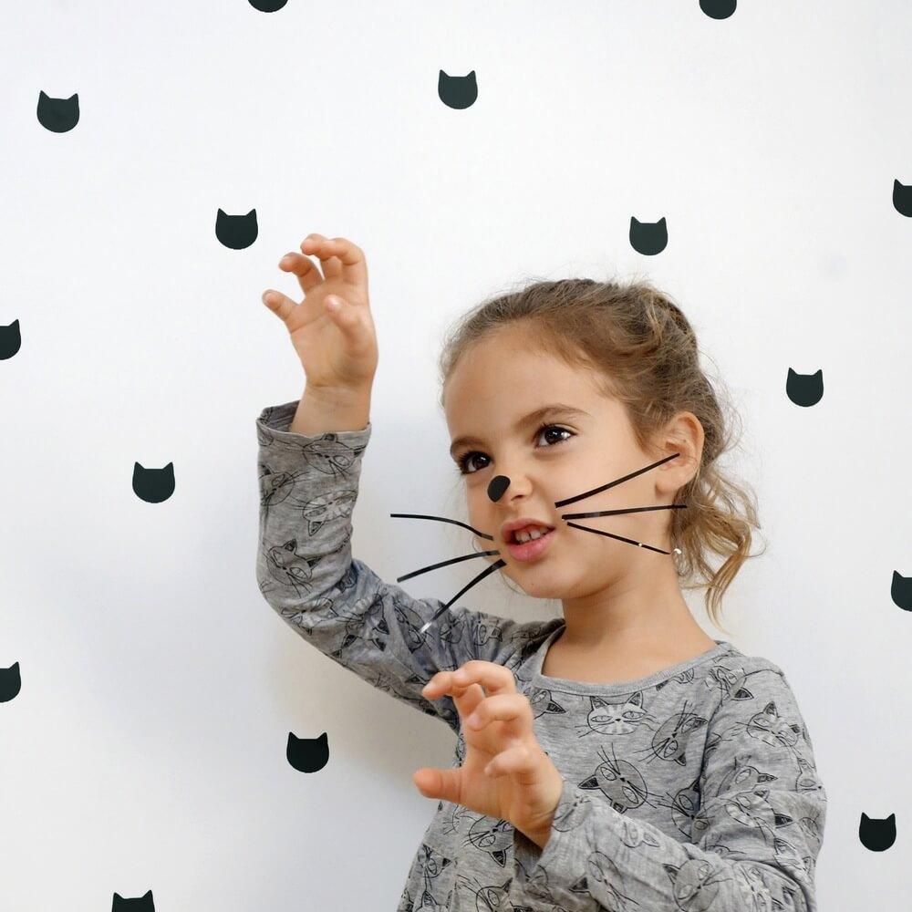 מדבקות קיר לחדרי ילדים מדבקת קיר דמות חתול אקססוריז לעיצוב חדר ילדים