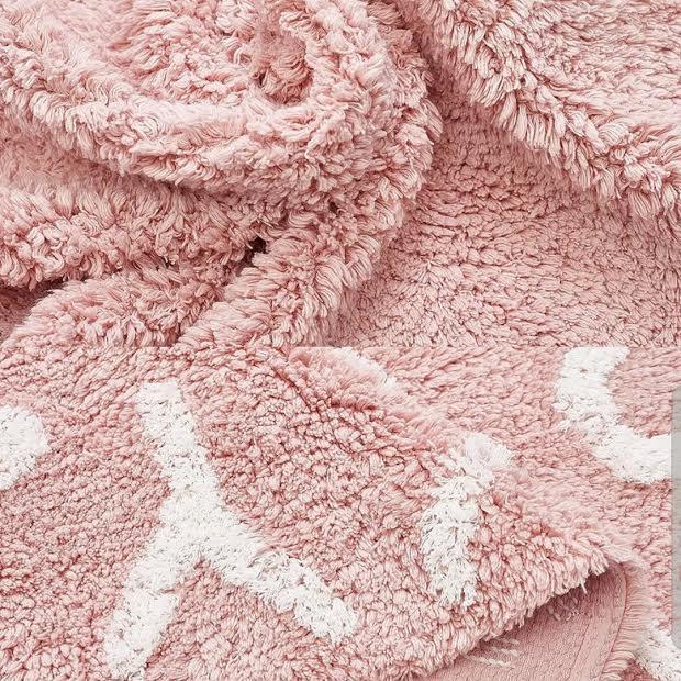 שטיח עגול 120 אותיות ורוד בהיר