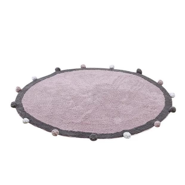 שטיח עגול לחדר ילדים ורוד פונפונים