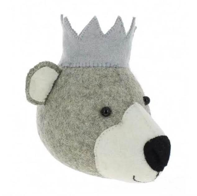 ראש בובה לעיצוב חדר ילדים דגם ראש דוב קוטב לבן אקססוריז עיצוב חדר ילדים
