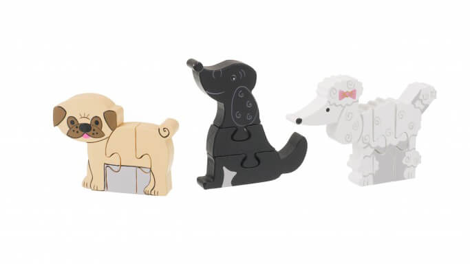 פאזל מעץ חיות דגם כלבים