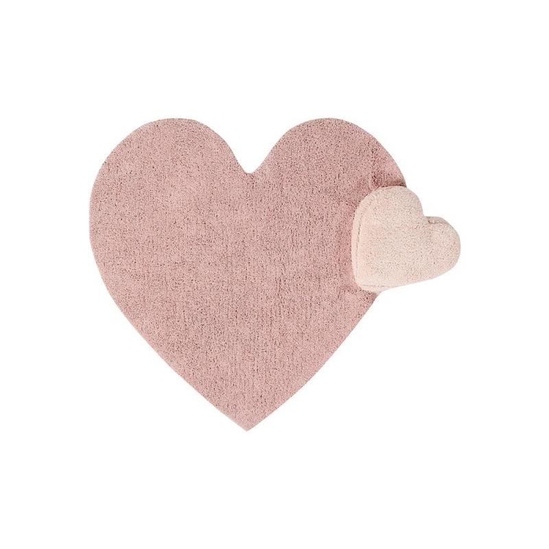 שטיח לחדר ילדים בצורת לב ורוד