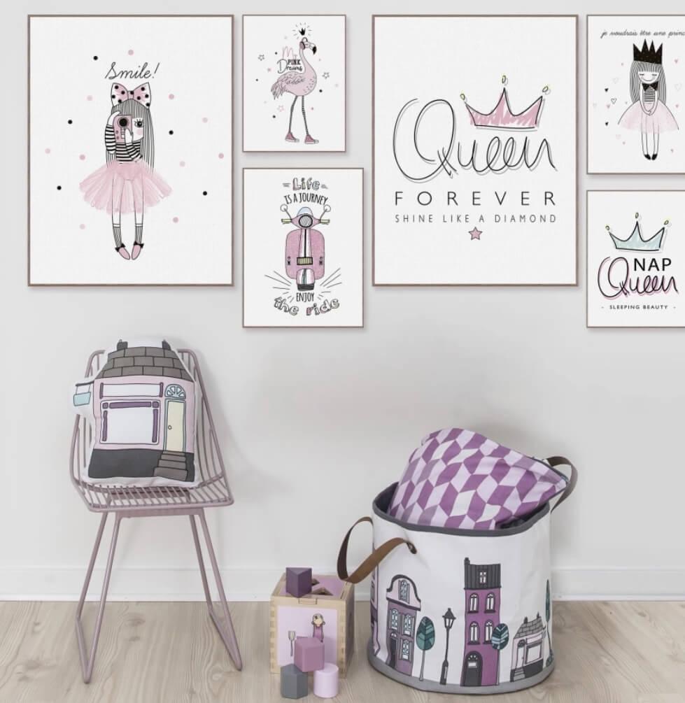 תמונות לחדרי ילדים 3 פוסטרים funky girl