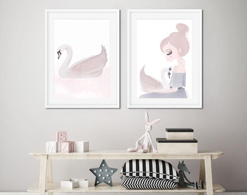תמונה לחדר ילדים ברבור לבן צחור
