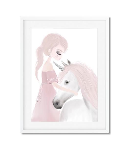 תמונה לחדר ילדים נסיכה עם סוס לבן