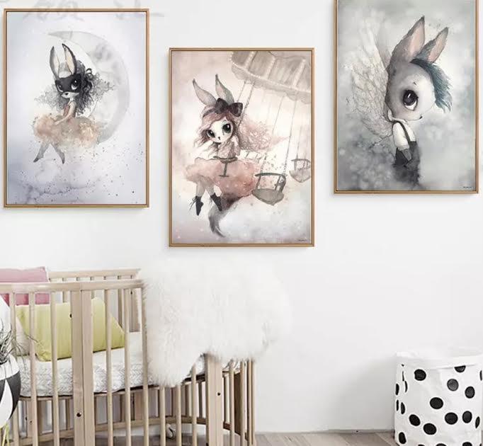 תמונה לחדר ילדים ארנבת על ירח
