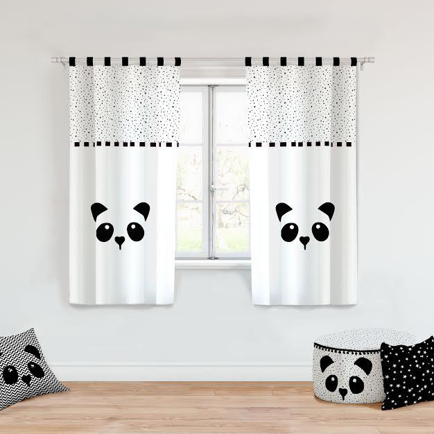 וילון לחדר ילדים דגם פנדה שחור לבן