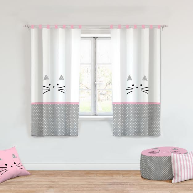 וילון לחדר ילדים דגם חתול ורוד