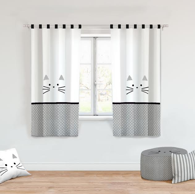 וילון לחדר ילדים דגם חתול שחור לבן