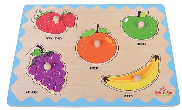 פאזל כפתור הכרת פירות 5 חלקים