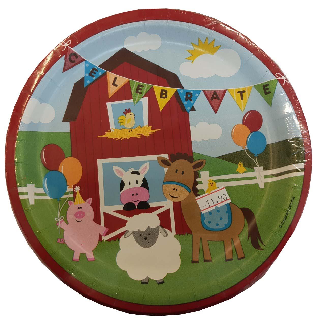 צלחות גדולות יום הולדת בחווה