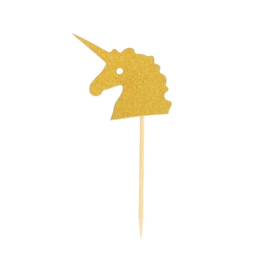 חד קרן - קיסמי חד קרן גליטר זהב - 12 יח'