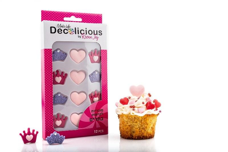 סוכריות לעוגה בצורת כתר + לבבות - ורוד סגול