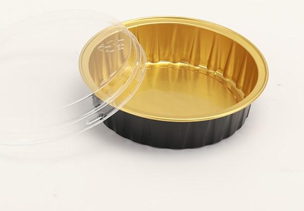 10 תבניות אלומיניום עגולות שחור / זהב - 80 מ