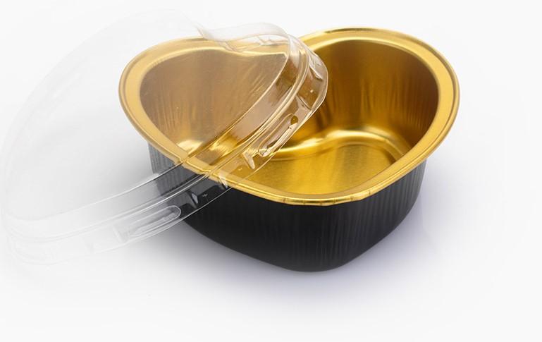 10 תבניות אלומיניום לב שחור / זהב 100 מ