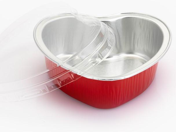 100 תבניות אלומיניום לב אדום / כסף 100 מ