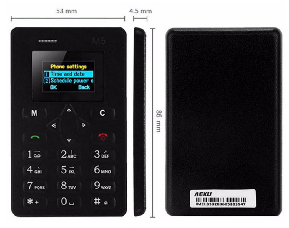 מכשיר סלולרי AIEK M5 בגודל של כרטיס אשראי