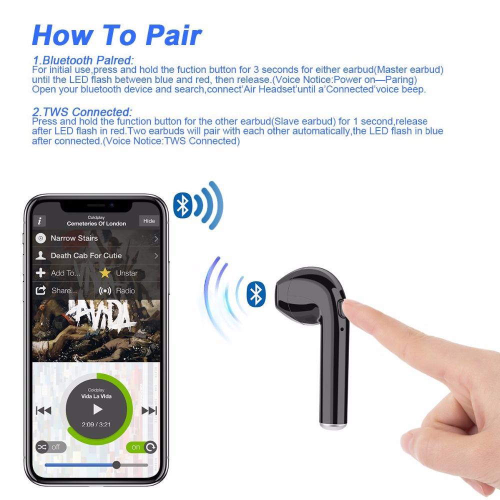 זוג אוזניות בלוטוס ללא חוט i7S Tws Bluetooth