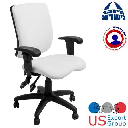 כיסא לבן משרדי  עם כיוון זווית וגובה הגב  ומושב אנטומי מרופד