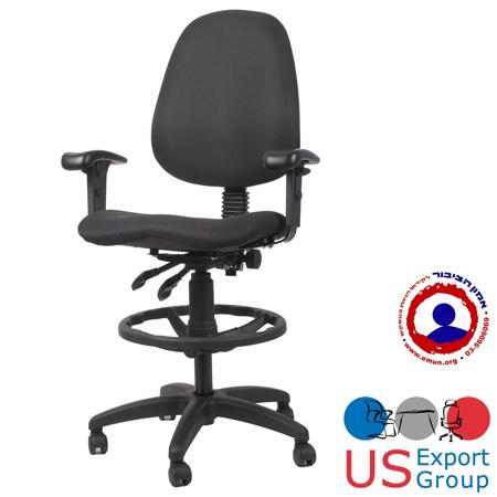 כסא מעבדה אורטופדי כולל מושב אנטומי חישוק לרגליים וידיות מתכווננות