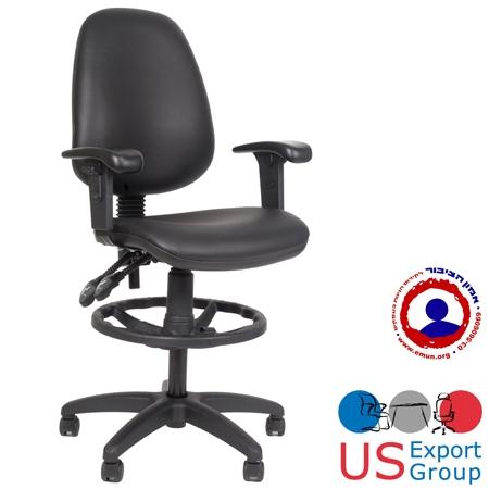 כסא שרטט למשרד  מרופד בסקיי שחור כולל חישוק ובוכנה גבוהה