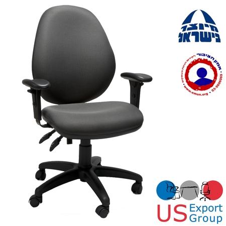 כסא משרדי אורטופדי  תומכת גב עליון ומנגנון הטיית מושב קדימה