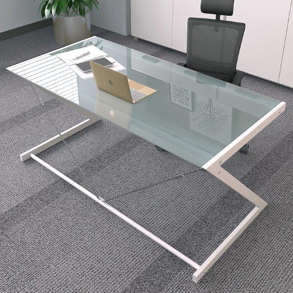 שולחן משרדי זכוכית מעוצב דגם 8134