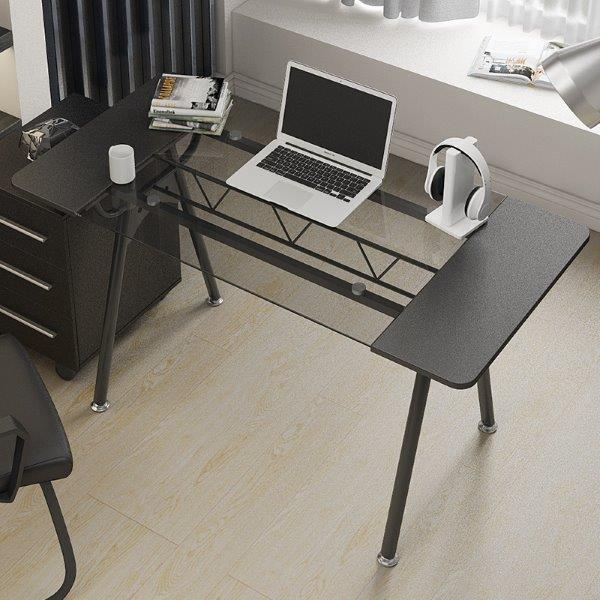 שולחן משרדי למחשב זכוכית שחורה דגם 3344
