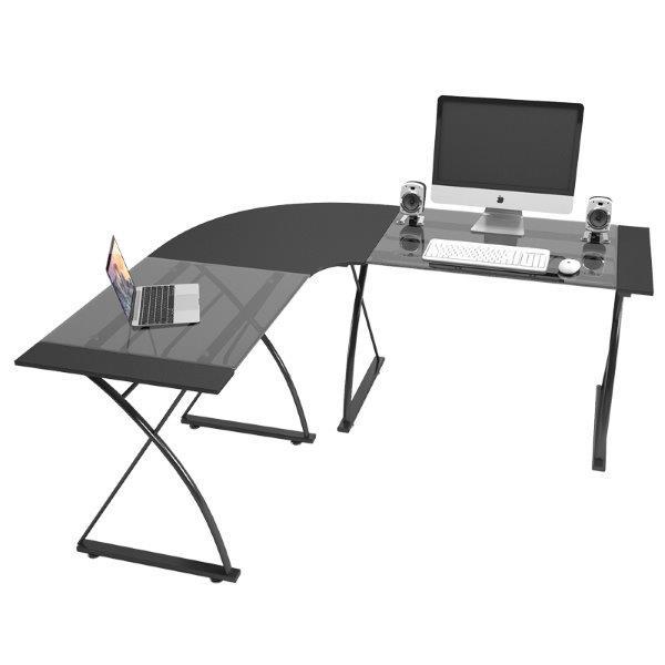 שולחן מחשב פינתי  זכוכית שחורה דגם 3818