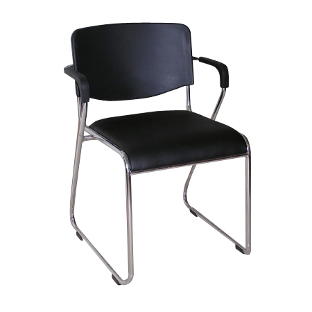 כסא אורח והמתנה  עם שילדה ניקל  ומושב מרופד בדמוי עור דגם לירן