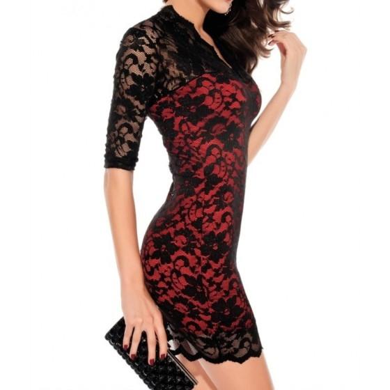 שמלת מיני תחרה לערב