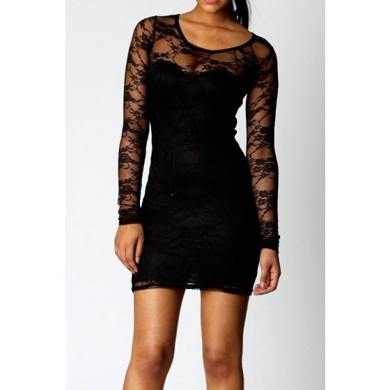 שמלת מיני תחרה  לערב - תמונה 1