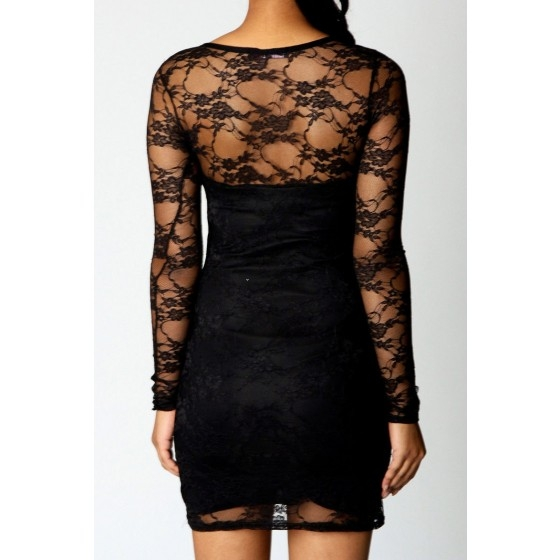 שמלת מיני תחרה  לערב - תמונה 2