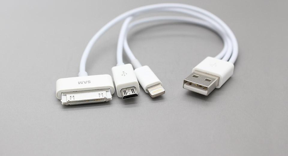 כבל מפצל USB עם 3 יציאות – לאייפון 4, אייפון 5 וסמסונג גלקסי